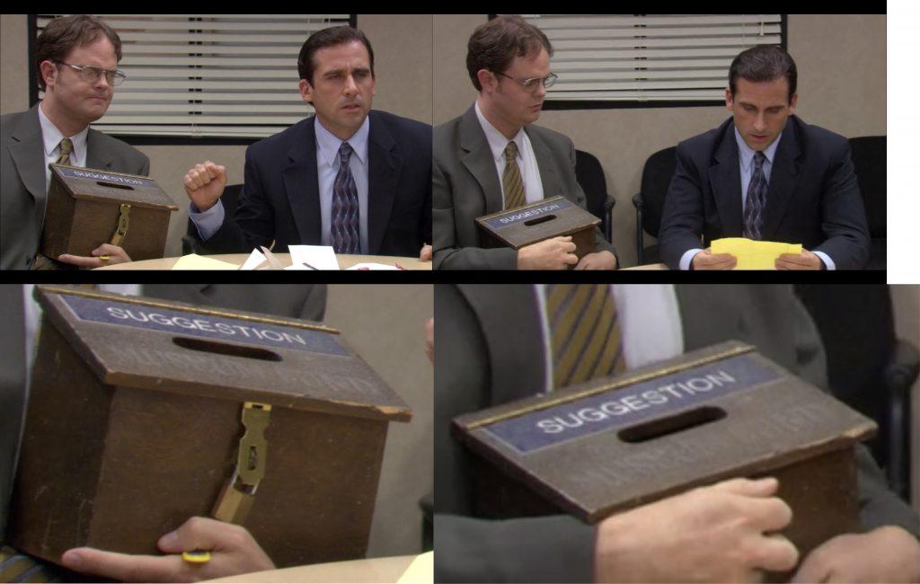 The Office faz graça com a caixa de sugestões. Os softwares de gestão de ideias tem diversas vantagens frente a prática analógica. Crédito: Reddit